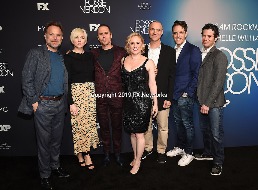 "LOS ANGELES - MAY 30: Cast members  Norbert Leo Butz, Michelle Williams, and Sam Rockwell and Executive Producers  Nicole Fosse,  Joel Fields, Steven Levenson, and Tommy Kail attend the FYC Event for Fox 21 TV Studios & FX's ""Fosse/Verdon"" at the Samuel Goldwyn Theater on May 30, 2019 in Los Angeles, California. (Photo by Frank Micelotta/FX/PictureGroup)"
