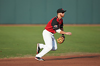 Hickory Crawdads shortstop Ryan Dorow (2) on defense against the Kannapolis Intimidators at L.P. Frans Stadium on July 20, 2018 in Hickory, North Carolina. The Crawdads defeated the Intimidators 4-1. (Brian Westerholt/Four Seam Images)