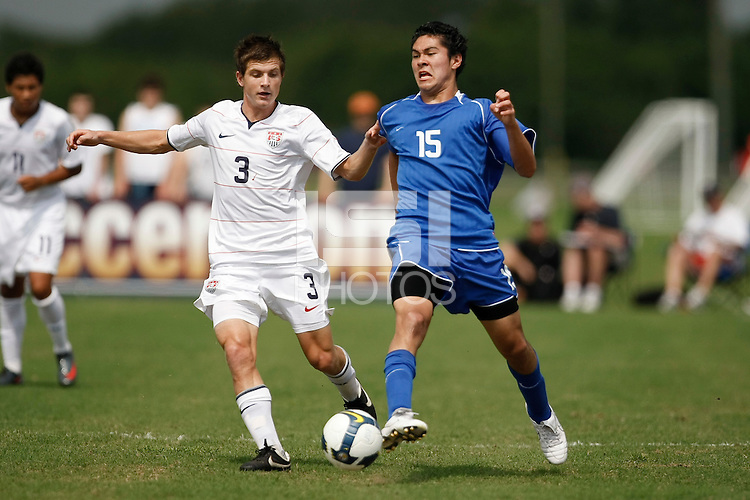 Victor Chavez (15) of the Academy Select Team is defended by Tyler Polak (3) of the USA. The US U-17 Men's National Team defeated the Development Academy Select Team 5-3 during day two of the US Soccer Development Academy  Spring Showcase in Sarasota, FL, on May 23, 2009.