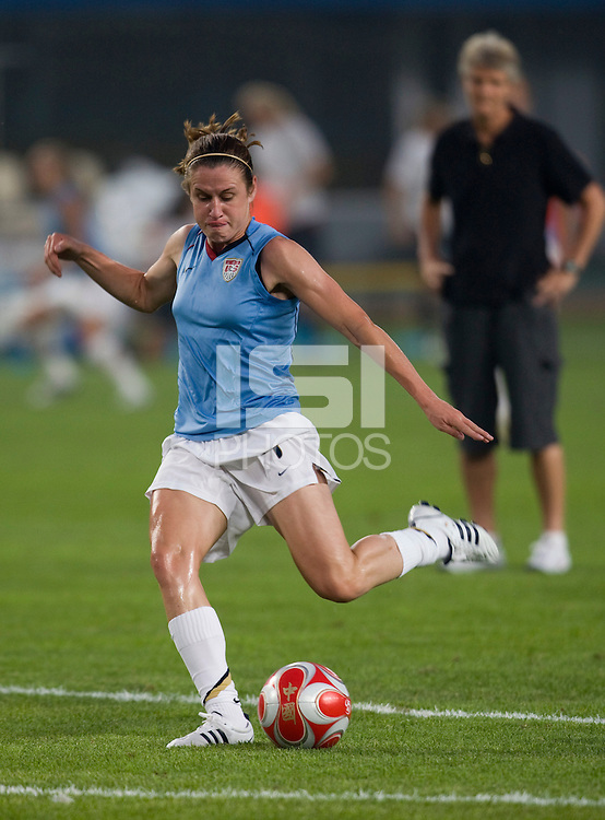 Heather O'Reilly. The US lost to Norway, 2-0, during first round play at the 2008 Beijing Olympics in Qinhuangdao, China.