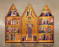 Gothic painted Panel Altarpiece of Saint Vincent by  Master of Estopanya. Tempera and gold leaf on wood. Circa 1350-1370. 199 x 255 x 10 cm. Comes from Estopanyà (Baixa Ribagorça, Huesca).. National Museum of Catalan Art, Barcelona, Spain, inv no: 003940-CJT