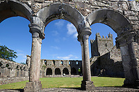 Ireland, County Kilkenny, Near Thomastown: Jerpoint Abbey, 15th century colonnaded cloister and 12th century Cistercian Romanesque church | Irland, County Kilkenny, bei Thomastown: Jerpoint Abbey, Kreuzgang aus dem 15. Jahrhundert und Zisterzienserkirche aus dem 12. Jahrhundert
