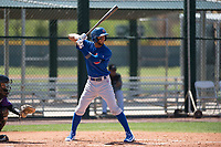 Chicago Cubs center fielder Jose Gonzalez (21) at bat during an Extended Spring Training game against the Colorado Rockies at Sloan Park on April 17, 2018 in Mesa, Arizona. (Zachary Lucy/Four Seam Images)