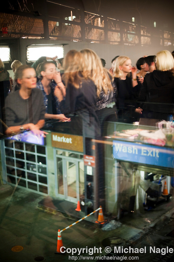NEW YORK  --  FEBRUARY 12, 2011:  Models get their makeup done backstage for Joseph Altuzarra's show during New York Fashion Week at Milk Studios on February 12, 2011.  (PHOTOGRAPH BY MICHAE NAGLE)