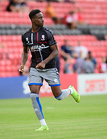 Lincoln City's Jordan Adebayo-Smith during the pre-match warm-up<br /> <br /> Photographer Chris Vaughan/CameraSport<br /> <br /> Football Pre-Season Friendly - Lincoln City v Stoke City - Wednesday July 24th 2019 - Sincil Bank - Lincoln<br /> <br /> World Copyright © 2019 CameraSport. All rights reserved. 43 Linden Ave. Countesthorpe. Leicester. England. LE8 5PG - Tel: +44 (0) 116 277 4147 - admin@camerasport.com - www.camerasport.com