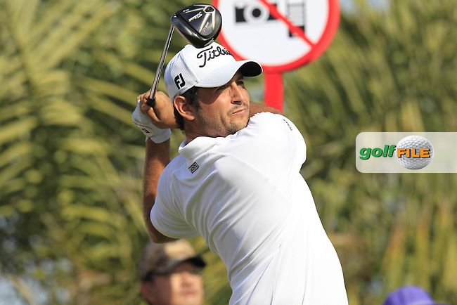 Alexander Levy (FRA) tees off the 2nd tee during Friday's Round 2 of the Abu Dhabi HSBC Golf Championship 2015 held at the Abu Dhabi Golf Course, United Arab Emirates. 16th January 2015.<br /> Picture: Eoin Clarke www.golffile.ie