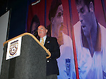 Seamus Malin, who had been honored by the Hall of Fame with the Colin Jose Media Award the previous evening, acts as emcee on Monday, August 29, 2005, during the 2005 National Soccer Hall of Fame Induction Ceremony in Oneonta, New York.