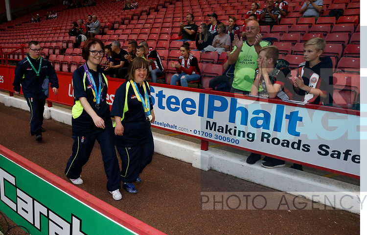 SOGB athletes during their lap of honour during the Carabao Cup, second round match at Bramall Lane, Sheffield. Picture date 22nd August 2017. Picture credit should read: Simon Bellis/Sportimage