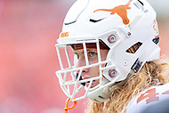 Landover, MD - September 1, 2018: A look into the eyes of Texas Longhorns defensive lineman Breckyn Hager (44) on the sideline during game between Maryland and No. 23 ranked Texas at FedEx Field in Landover, MD. The Terrapins upset the Longhorns in back to back season openers with a 34-29 win. (Photo by Phillip Peters/Media Images International)