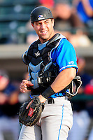 Hudson Valley Renegades catcher Daniel De La Calle (29) during a game versus the Lowell Spinners at Lelacheur Park on August 30, 2015 in Lowell, Massachusetts.  (Ken Babbitt/Four Seam Images)