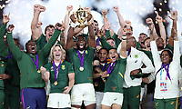 Siya Kolisi (capt.) of South Africa lifting the rugby world cup  after the Rugby World Cup Final match between South Africa Springboks and England Rugby World Cup Final at the International Stadium in Yokohama, Japan on Saturday, 2 November 2019. Photo: Steve Haag / stevehaagsports.com