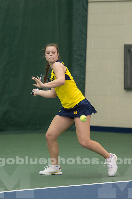 2/20/16 Women's Tennis defeats North Carolina at the Varsity Tennis Center in Ann Arbor, MI.