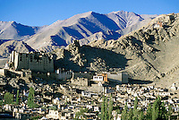 Leh Palace overlooking the city, Ladakh, Leh, India.