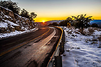 Highway or highway at sunset on a day with clear sky and blue sky. Winter in Cananea, Sonora, Mexico. Snow on the La Mariquita and Sierra Elenita mountains. 2020. (Photo by: GerardoLopez / NortePhoto.com)<br /> <br /> Carretera o autopista al atardecer en un dia con cielo despejado y cielo azul. Invierno en Cananea, Sonora, Mexico.  Nieve en la siera la Mariquita y sierra Elenita . 2020. (Photo by: GerardoLopez/NortePhoto.com )