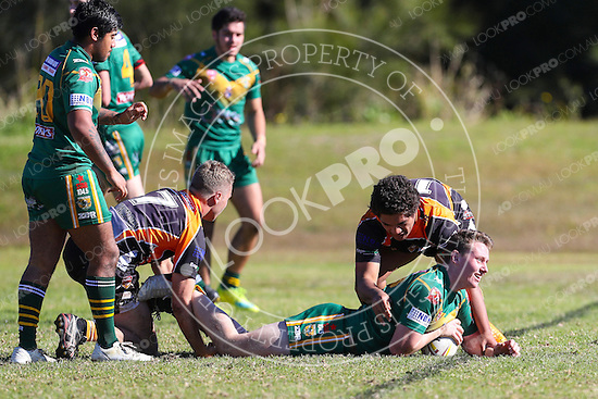 The Wyong Roos play The Entrance Tigers in Round 12 of the U19's Central Coast Rugby League Division at Sir Joseph Banks Oval on 3 July, 2016 in Bateau Bay, NSW Australia. (Photo by Paul Barkley/LookPro)