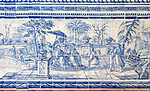 Blue and white azulejo tiles Oriental Far Eastern scene China, University of Evora, Portugal