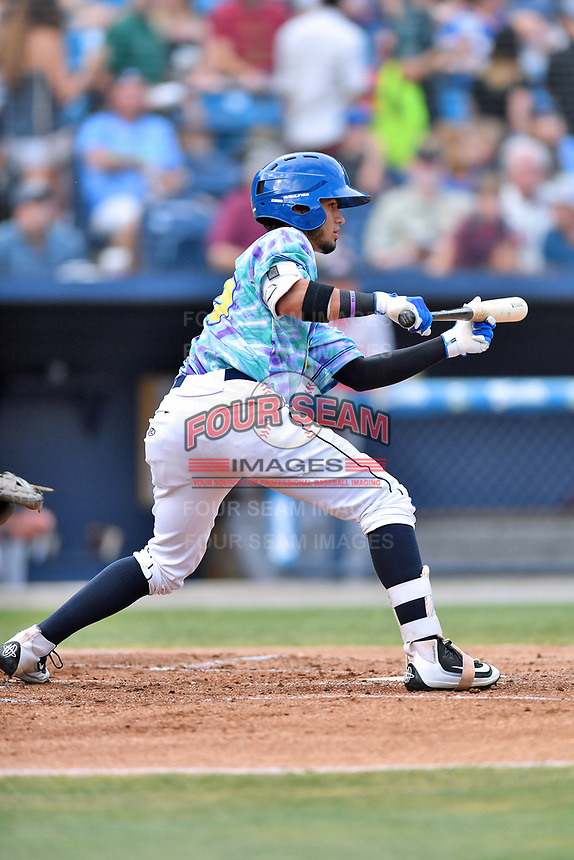 Asheville Hippies center fielder Manny Melendez (19) squares to bunt during a game against the Greenville Drive at McCormick Field on June 29, 2017 in Asheville, North Carolina. The Drive defeated the Tourists 9-6. (Tony Farlow/Four Seam Images)
