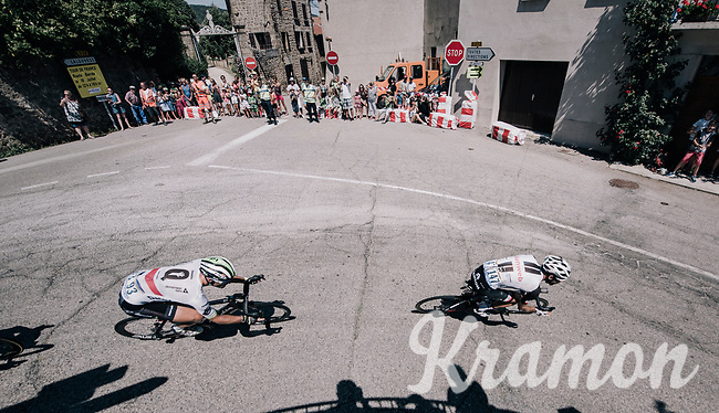 Steve Cummings (GBR/Dimension Data) tailing Laurens ten Dam (NED/Sunweb)<br /> <br /> 104th Tour de France 2017<br /> Stage 16 - Le Puy-en-Velay &rsaquo; Romans-sur-Is&egrave;re (165km)