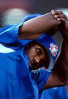 Otis Nixon of the Toronto Blue Jays during a game at Anaheim Stadium in Anaheim, California during the 1997 season.(Larry Goren/Four Seam Images)