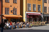 A cafe in the Old Town, Gamla Stan. Stockholm. Sweden, Europe.