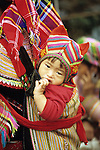 Flower Hmong Baby 01 - Flower Hmong baby in back carrier, Sunday market, Bac Ha, NW Viet Nam