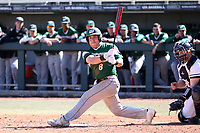 CARY, NC - FEBRUARY 23: Tyler Sanfilippo #8 of Wagner College watches his hit go foul during a game between Wagner and Penn State at Coleman Field at USA Baseball National Training Complex on February 23, 2020 in Cary, North Carolina.