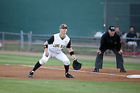 Daniel Jackson (35) of the Cal State Long Beach Dirtbags in the field at first base during a game against the UC Santa Barbara Gauchos at Blair Field on April 1, 2016 in Long Beach, California. UC Santa Barbara defeated Cal State Long Beach, 4-3. (Larry Goren/Four Seam Images)