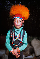 Tibet, Kham - Thuma Tibetan nomad girl in Degang Valley, near Litang.