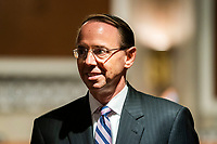 former United States Deputy Attorney General Rod Rosenstein prepares to testify before a Republican-led US Senate Judiciary Committee hearing on ëCrossfire Hurricane,í the FBI's probe into Russian election interference and the 2016 Trump campaign in the Dirksen Senate Office Building in Washington, DC, USA, 03 June 2020.<br /> Credit: Jim LoScalzo / Pool via CNP/AdMedia