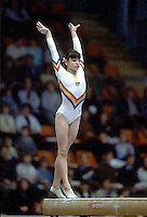 Laura Cutina of Romania performs on balance beam at 1985 European Championships in women's artistic gymnastics at Helsinki, Finland in late April, 1985.  Photo by Tom Theobald.