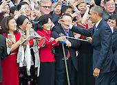 United States President Barack Obama greets guests during an official State Arrival ceremony honoring President XI Jinping of China on the South Lawn of the White House in Washington, DC on Friday, September 25, 2015.<br /> Credit: Ron Sachs / CNP