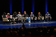 January 12, 2012  (Washington, DC)  Radio and television talk show host Tavis Smiley moderated a panel discussion on restoring America's prosperity at the George Washington University Lisner Auditorium in Washington. (L-R) Majora Carter, Barbara Ehrenreich, Dr. Cornell West, Tavis Smiley, Michael Moore, Suze Orman, Vicki Escarra, Roger Clay, Jr.  (Photo by Don Baxter/Media Images International)