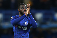 Fikayo Tomori of Chelsea applauds the home fans at the final whistle during Chelsea vs AFC Ajax, UEFA Champions League Football at Stamford Bridge on 5th November 2019