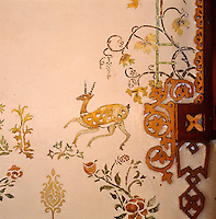 Detail of part of a mural of deer and plants