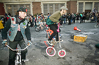 People take part in Bike Kill 2006, an annual bicycle block party and day of mayhem, in Brooklyn, New York City, USA, 28 October 2006.<br />