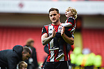 Billy Sharp of Sheffield Utd carries his son after the Championship league match at Bramall Lane Stadium, Sheffield. Picture date 28th April, 2018. Picture credit should read: Harry Marshall/Sportimage