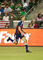 CARSON, CA – APRIL 30, 2011: Chivas USA defender Andrew Boyens (2) runs down the ball during the match between Chivas USA and New England Revolution at the Home Depot Center, April 30, 2011 in Carson, California. Final score Chivas USA 3, New England Revolution 0.