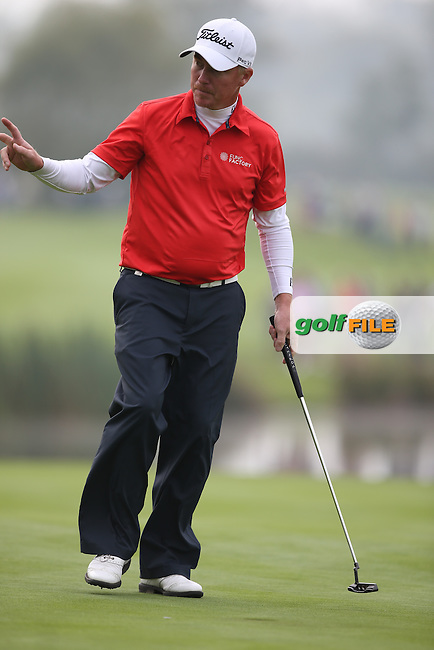 Patrik Sjoland (SWE) holes out for par on the 14th during Round Three of the ISPS Handa Wales Open 2014 from the Celtic Manor Resort, Newport, South Wales. Picture:  David Lloyd / www.golffile.ie