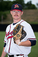 Danville Braves pitcher Jacob Belinda (25) poses for a photo prior to the game against the Princeton Rays at American Legion Post 325 Field on June 25, 2017 in Danville, Virginia.  The Braves walked-off the Rays 7-6 in 11 innings.  (Brian Westerholt/Four Seam Images)