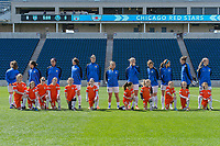 Bridgeview, IL - Saturday April 22, 2017: FC Kansas City Starting XI, player escorts during a regular season National Women's Soccer League (NWSL) match between the Chicago Red Stars and FC Kansas City at Toyota Park.