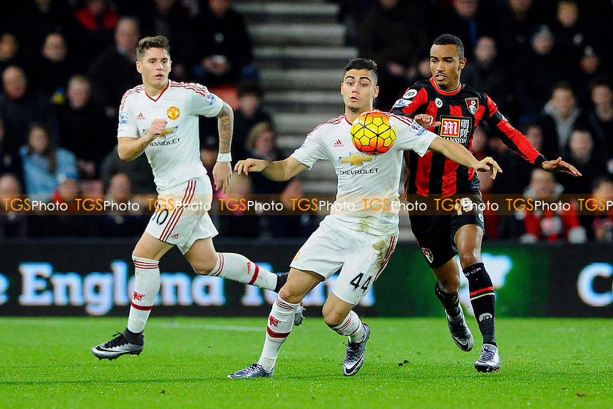 Andreas Pereira of Manchester United shields the ball from Junior Stanislas of AFC Bournemouth during AFC Bournemouth vs Manchester United at the Vitality Stadium
