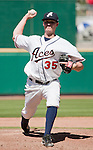 Reno Aces starting pitcher Charles Brewer throws against the Sacramento River-Cats in their game played on Sunday afternoon, April 22, 2012 in Reno, Nevada.