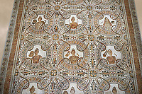 Detail of a  Roman mosaics design depicting the nine muses, from the Maison du Mois, ancient Roman city of Thysdrus. 2nd half of 3rd century AD. El Djem Archaeological Museum, El Djem, Tunisia.<br /> The Roman mosaic depicts the nine muses and their attributes: Clio the muse of history ; Uranie the muse of Astronomy; Melpomene, tragedy; Thalie, comedy; Terpsichore, dancing; Calliope, epic poetry; Erato, love poetry; Polymnie, religious songs and rhetoric; Euterpe, lyrical poetry and music