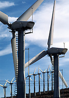 Modern WINDMILLS harness the wind to create ELECTRICITY as a form of SUSTAINABLE ENERGY - CALIFORNIA