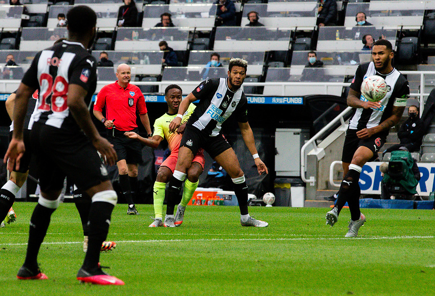 Manchester City's Raheem Sterling scores his side's second goal<br /> <br /> Photographer Alex Dodd/CameraSport<br /> <br /> FA Cup Quarter-Final - Newcastle United v Manchester City - Sunday 28th June 2020 - St James' Park - Newcastle<br />  <br /> World Copyright © 2020 CameraSport. All rights reserved. 43 Linden Ave. Countesthorpe. Leicester. England. LE8 5PG - Tel: +44 (0) 116 277 4147 - admin@camerasport.com - www.camerasport.com