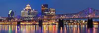 Louisville skyline at dusk.