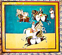 Decorative mural in vivid colors showing horse riders carrying swords. (Photo by Matt Considine - Images of Asia Collection)