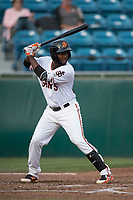 San Jose Giants right fielder Sandro Fabian (54) at bat during a California League game against the Modesto Nuts at San Jose Municipal Stadium on May 15, 2018 in San Jose, California. Modesto defeated San Jose 7-5. (Zachary Lucy/Four Seam Images)