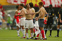 Frankie Hedjuk shakes hands with a South Korea player. The USA tied South Korea, 1-1, during the FIFA World Cup 2002 in Daegu, Korea.