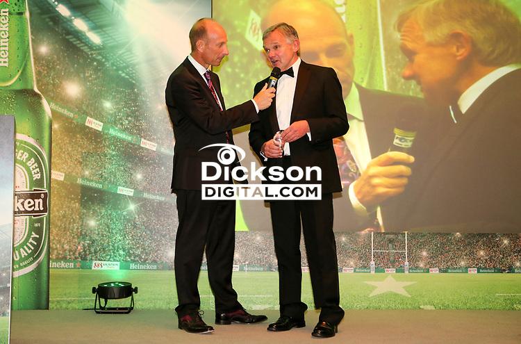 Thursday 10th May 2018 | Ulster Rugby Awards 2018<br /> <br /> Stephen Watson interviews the Dorrington B Faulkner Award  winner Mark Orr, during the 2018 Heineken Ulster Rugby Awards at La Mom Hotel, Belfast. Photo by John Dickson / DICKSONDIGITAL